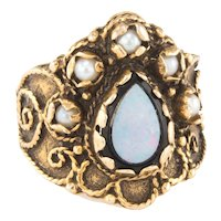 Opal Cultured Pearl Cigar Ring Wide Band Vintage 14 Karat Yellow Gold Estate Jewelry