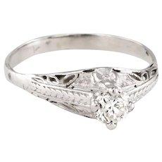 Vintage Art Deco Diamond 900 Platinum Filigree Engagement Ring Fine Jewelry