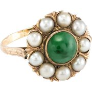 Jadeite Jade Cultured Pearl Cocktail Ring Vintage 9 Karat Yellow Gold Estate Jewelry