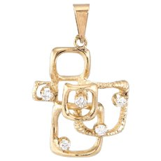 Retro Vintage Diamond Square Pendant 14 Karat Yellow Gold Estate Fine Jewelry