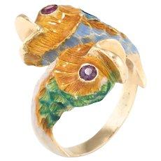 Koi Fish Enamel Ruby Ring Vintage 18 Karat Yellow Gold Estate Fine Jewelry Pre Owned