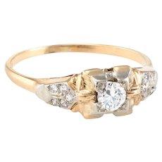 Vintage Art Deco Diamond Ring Two Tone 14 Karat Yellow Gold Estate Jewelry Fine