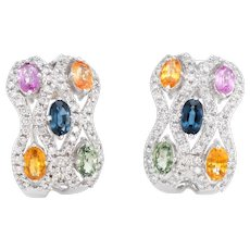 Estate Colored Sapphire Diamond Earrings 18 Karat White Gold Shrimp Jewelry