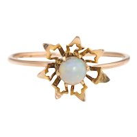 Antique Victorian Opal Conversion Ring Flower 10 Karat Yellow Gold Vintage Sz 4.75