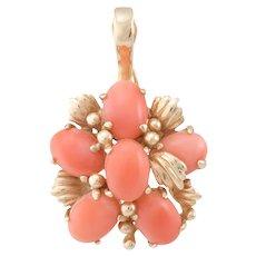 Coral Cluster Pendant Vintage 14 Karat Yellow Gold Estate Fine Jewelry Heirloom