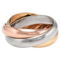 Cartier Trinity Rolling Ring Sz 53 6 1/4 Vintage 18 karat Tri Gold Estate Jewelry