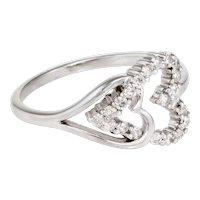 Double Heart Diamond Band Ring Estate 14 Karat White Gold Fine Vintage Jewelry