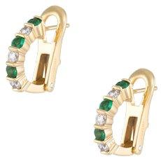 Emerald Diamond Shrimp Earrings Vintage 18 Karat Yellow Gold Estate Fine Jewelry