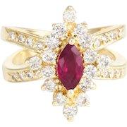Natural Ruby Diamond Cocktail Ring Vintage 14 Karat Yellow Gold Estate Fine Jewelry