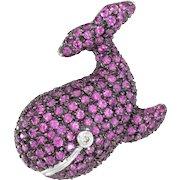 Whale Pendant Brooch Pink Sapphire Diamond Vintage 14 Karat White Gold Estate Jewelry