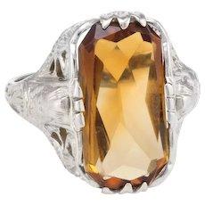 Vintage Art Deco Egyptian Filigree Citrine Ring 14 Karat White Gold Estate Fine