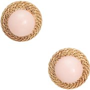 Angel Skin Coral Round Earrings Vintage 18 Karat Yellow Gold Estate Fine Jewelry