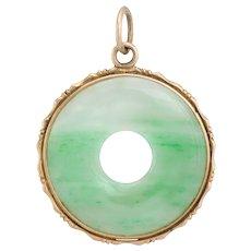 Jade Round Disc Pendant Vintage 14 Karat Yellow Gold Estate Fine Jewelry Pre Owned