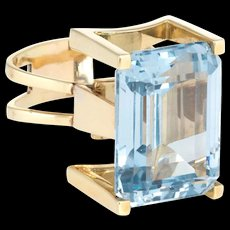 Large 45ct Blue Topaz Retro 60s Cocktail Ring Vintage 18k Yellow Gold Jewelry