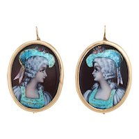 Painted Enamel Portrait Earrings Antique Deco 14 Karat Gold Vintage Fine Jewelry