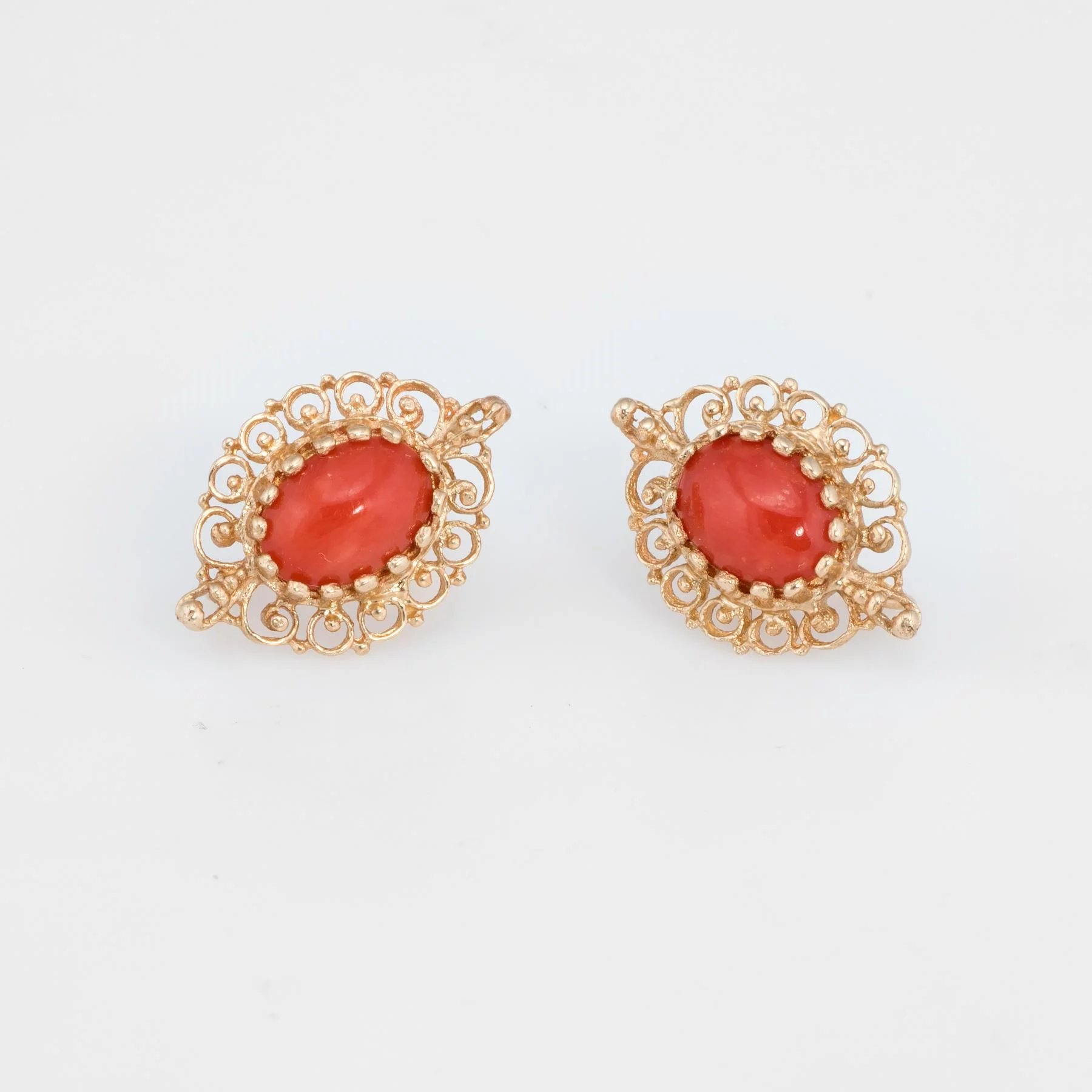 d5c9bff64 Click to expand · Mediterranean Red Coral Earrings Vintage 14 Karat Yellow  Gold Estate Jewelry Fine
