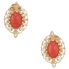 Mediterranean Red Coral Earrings Vintage 14 Karat Yellow Gold Estate Jewelry Fine
