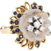 Rock Crystal Diamond Sapphire Flower Cocktail Ring Vintage 14 Karat Gold Estate