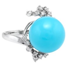 Sleeping Beauty Turquoise Diamond Cocktail Ring Estate 14 Karat White Gold Jewelry