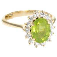 Peridot Diamond Princess Cocktail Ring Vintage 18 Karat Yellow Gold Estate Jewelry