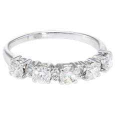 5 Stone Diamond Anniversary Ring Vintage 18 Karat White Gold Estate Fine Jewelry 8.5