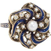 Diamond Pearl Enamel Round Cocktail Ring Vintage 14 Karat Yellow Gold Estate Jewelry