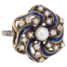 Diamond Pearl Enamel Round Cocktail Ring Vintage 14 Karat Yellow Gold Estate Jewelry