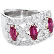 Natural Ruby Diamond Band Ring Estate 18 Karat White Gold Fine Vintage Jewelry 6.5