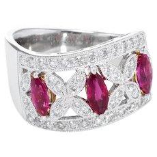 Natural Ruby Diamond Band Ring Estate 18 Karat White Gold Fine Vintage Jewelry 6.5
