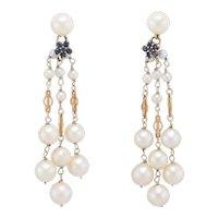 Cultured Pearl Sapphire Drop Dangle Earrings Vintage 14 Karat Yellow Gold Jewelry