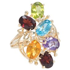 Semi Precious Rainbow Gemstone Ring Estate 14 Karat Yellow Gold Vintage Jewelry