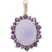 Lavender Jade Amethyst Pendant Vintage 14 Karat Yellow Gold Estate Fine Jewelry