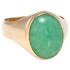Mens Jade Ring Vintage 22 Karat Yellow Gold Estate Fine Jewelry Pre Owned Sz 8.25