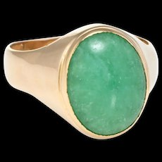Mens Jade Ring Vintage 22 Karat Yellow Gold Estate Fine Jewelry Pre Owned Sz 8.25