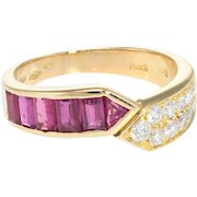 Ruby Diamond Band Ring Vintage 18 Karat Yellow Gold Estate Fine Jewelry Pre Owned 6.5