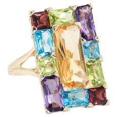 Rainbow Gemstone Cocktail Ring Vintage 14 Karat Yellow Gold Estate Fine Jewelry