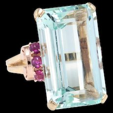 Aquamarine Ruby Retro Cocktail Ring Vintage 14 Karat Yellow Gold Estate Fine Jewelry