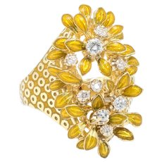 Enamel Diamond Flower Ring Vintage 18 Karat Yellow Gold Estate Fine Jewelry Heirloom