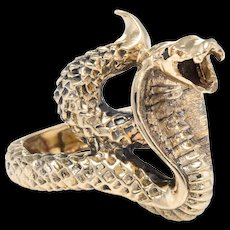 Cobra Snake Ring Vintage 14 Karat Yellow Gold Estate Fine Jewelry Serpent Pre Owned