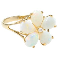 Opal Diamond Flower Cocktail Ring Vintage 14 Karat Yellow Gold Estate Fine Jewelry