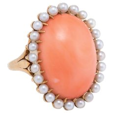 Natural Coral Pearl Cocktail Ring Vintage 14 karat Yellow Gold Estate Fine Jewelry
