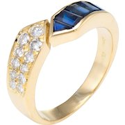 Sapphire Diamond Band Ring Sz 6.5 Vintage 18 Karat Yellow Gold Estate Fine Jewelry