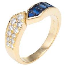Sapphire Diamond Band Ring Sz 6.5 Vintage 18 Karat Yellow Gold Estate Fine Jewelry