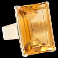 Large 35ct Citrine Cocktail Ring Vintage 18 karat Yellow Gold Estate Fine Jewelry