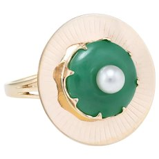 Jade Cultured Pearl Cocktail Ring Vintage 14 Karat Yellow Gold Estate Fine Jewelry