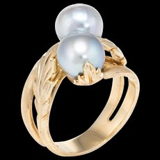 Moi et Toi Cultured Pearl Ring Vintage 14k Yellow Gold Estate Fine Jewelry