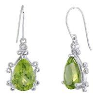 Peridot Diamond Drop Earrings Estate 14k White Gold Fine Vintage Jewelry