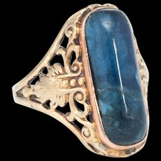 Vintage Art Deco Sodalite Leaf Filigree Cocktail Ring 14k Yellow Gold Estate Jewelry