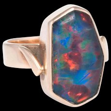 Vintage 70s Opal Cocktail Ring 10 Karat Yellow Gold Estate Fine Jewelry Pre Owned