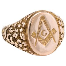 Masonic Lodge Mens Signet Ring Vintage 10 karat Rose Gold Estate Fraternal Jewelry